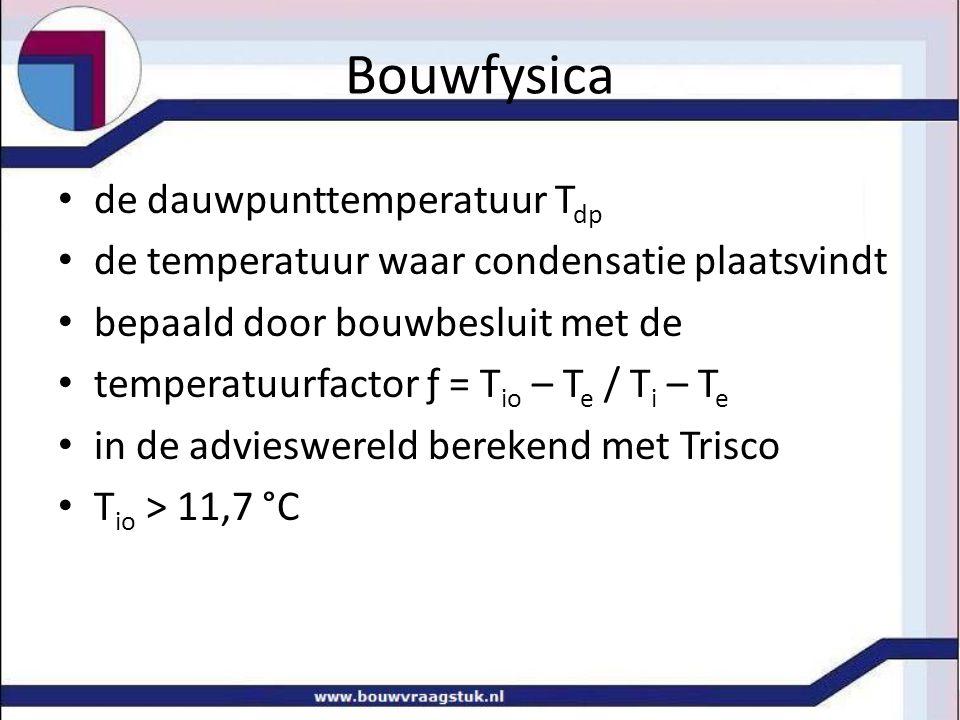 Bouwfysica Ф = C w / C max x 100 % [%] waterdampconcentratie in [ g / m 3 ] in C w tbv hoeveelheid vocht in ventilatielucht Bereken T io en T dp ruit, enkel glas, d = 4 mm, λ = 0,8, Ф = 50 % T i = 20 °C, T e = 6 °C, r i = 0,13, r i = 0,04 T dp < T io betekent geen condensatie