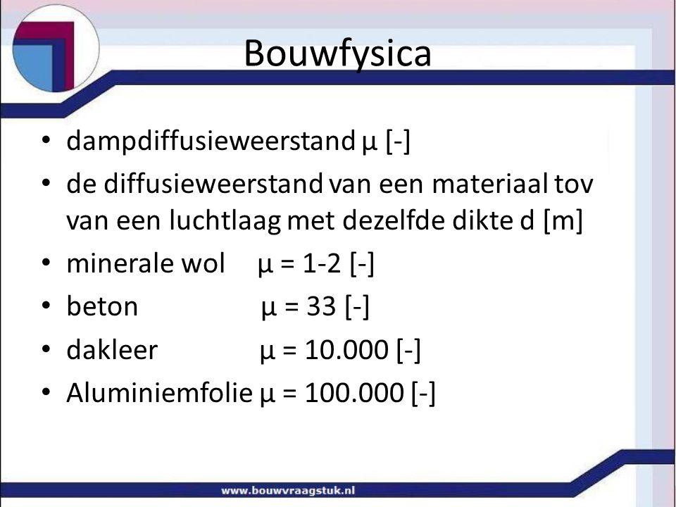 Bouwfysica dampdiffusieweerstand µ [-] de diffusieweerstand van een materiaal tov van een luchtlaag met dezelfde dikte d [m] minerale wol µ = 1-2 [-] beton µ = 33 [-] dakleer µ = 10.000 [-] Aluminiemfolie µ = 100.000 [-]