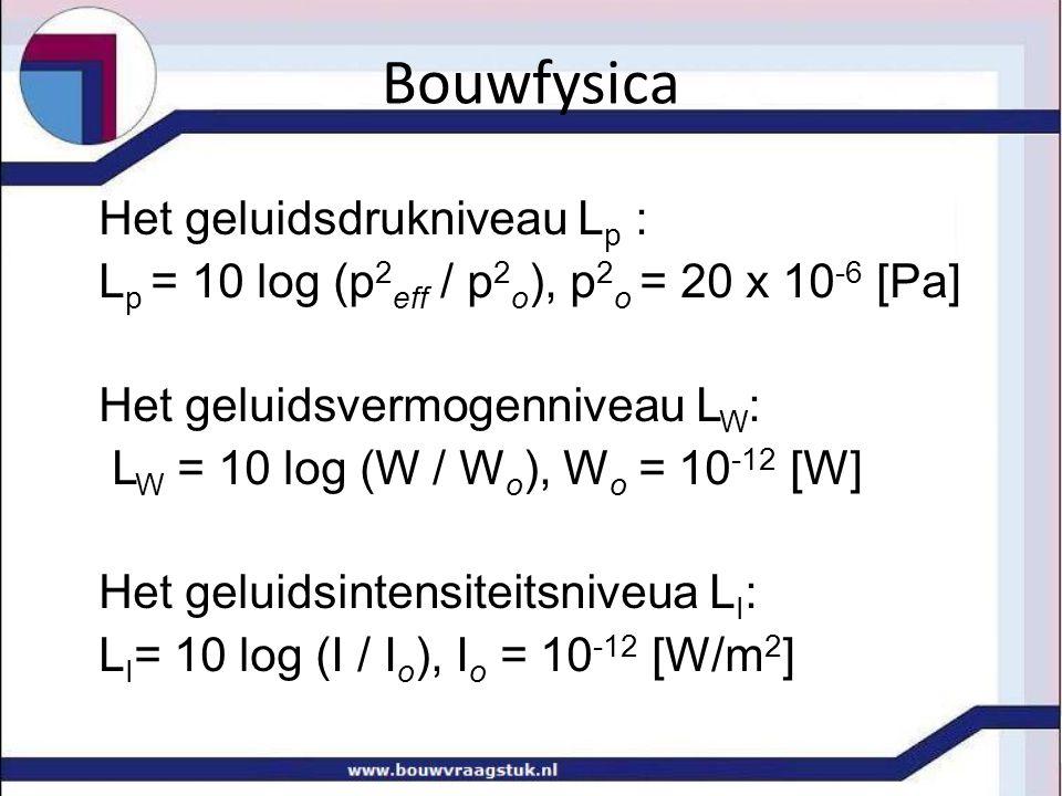 Het geluidsdrukniveau L p : L p = 10 log (p 2 eff / p 2 o ), p 2 o = 20 x 10 -6 [Pa] Het geluidsvermogenniveau L W : L W = 10 log (W / W o ), W o = 10