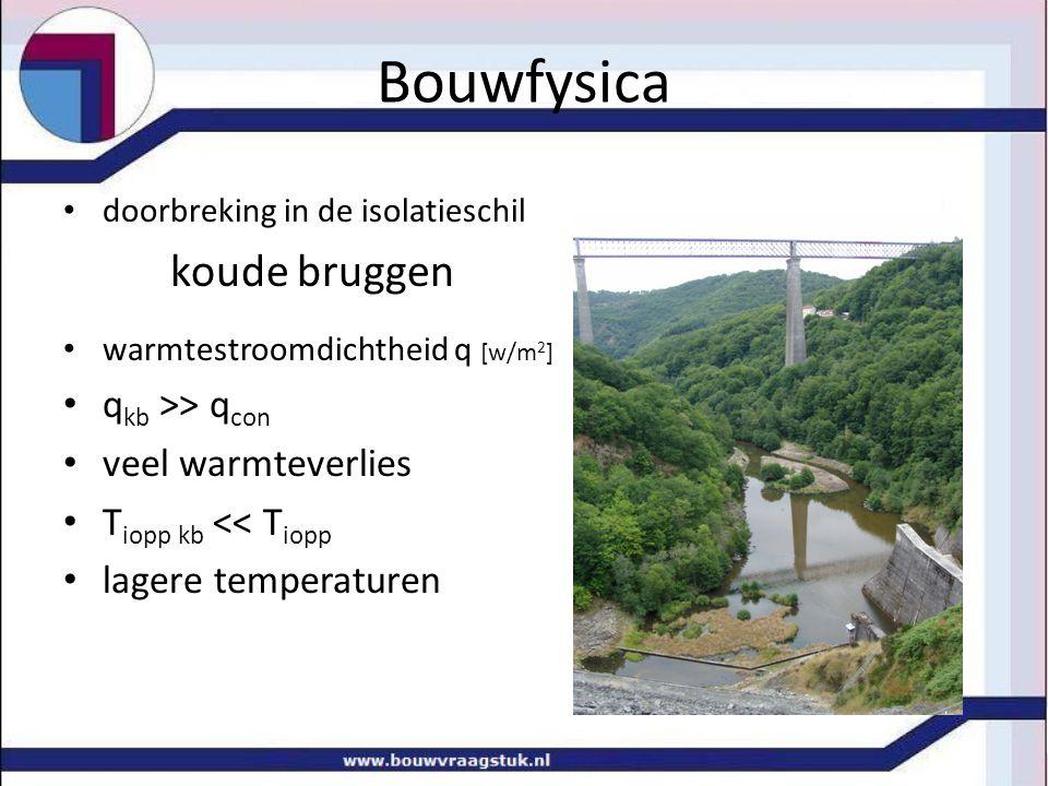 doorbreking in de isolatieschil koude bruggen warmtestroomdichtheid q [w/m 2 ] q kb >> q con veel warmteverlies T iopp kb << T iopp lagere temperaturen