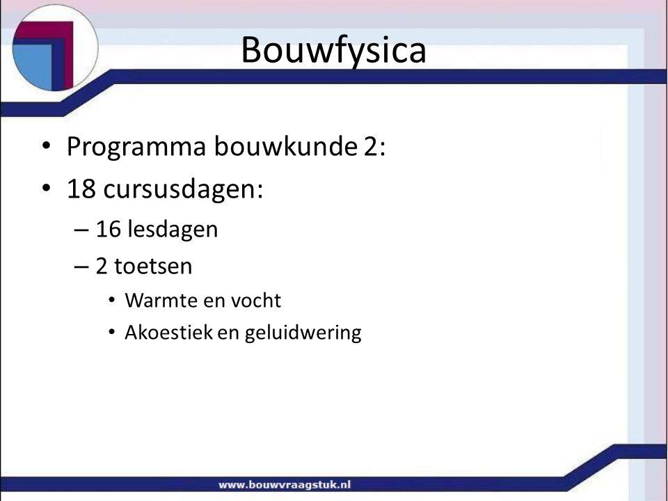 Bouwfysica Programma bouwkunde 2: 18 cursusdagen: – 16 lesdagen – 2 toetsen Warmte en vocht Akoestiek en geluidwering