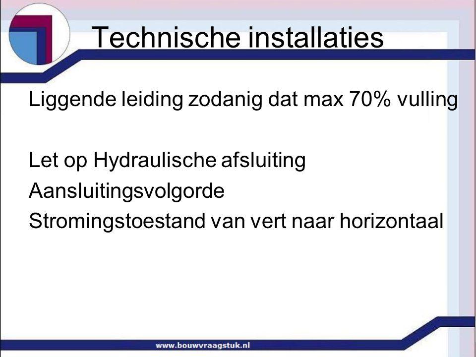 Technische installaties Liggende leiding zodanig dat max 70% vulling Let op Hydraulische afsluiting Aansluitingsvolgorde Stromingstoestand van vert naar horizontaal