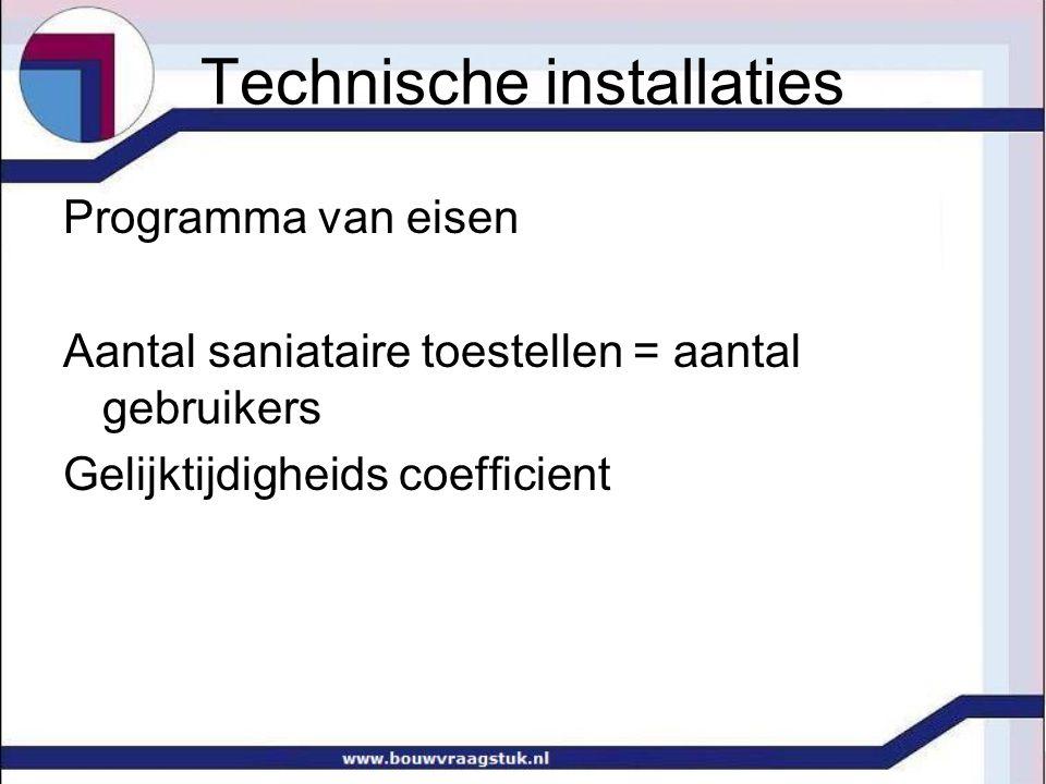 Technische installaties Programma van eisen Aantal saniataire toestellen = aantal gebruikers Gelijktijdigheids coefficient