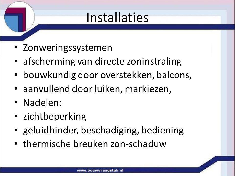 Installaties Zonweringssystemen afscherming van directe zoninstraling bouwkundig door overstekken, balcons, aanvullend door luiken, markiezen, Nadelen