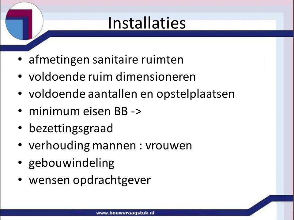 Installaties afmetingen sanitaire ruimten voldoende ruim dimensioneren voldoende aantallen en opstelplaatsen minimum eisen BB -> bezettingsgraad verho