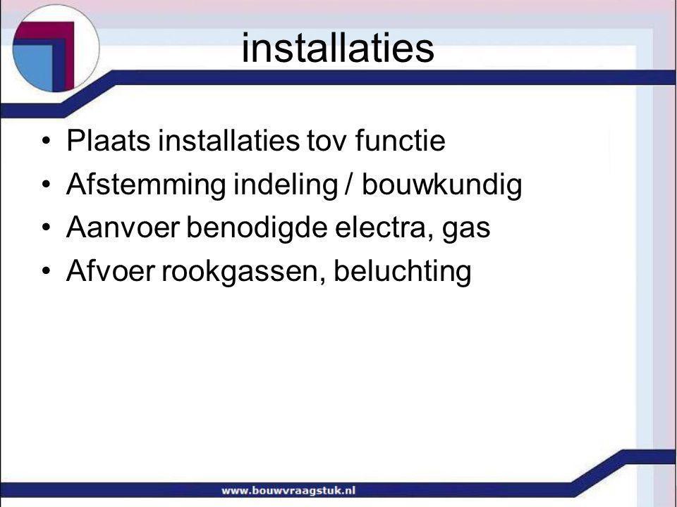 installaties Plaats installaties tov functie Afstemming indeling / bouwkundig Aanvoer benodigde electra, gas Afvoer rookgassen, beluchting