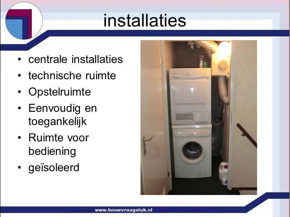 installaties centrale installaties technische ruimte Opstelruimte Eenvoudig en toegankelijk Ruimte voor bediening geïsoleerd