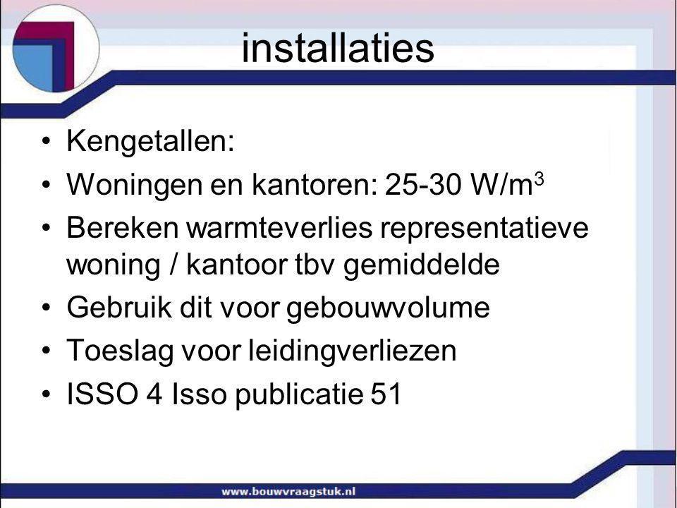 installaties Kengetallen: Woningen en kantoren: 25-30 W/m 3 Bereken warmteverlies representatieve woning / kantoor tbv gemiddelde Gebruik dit voor geb