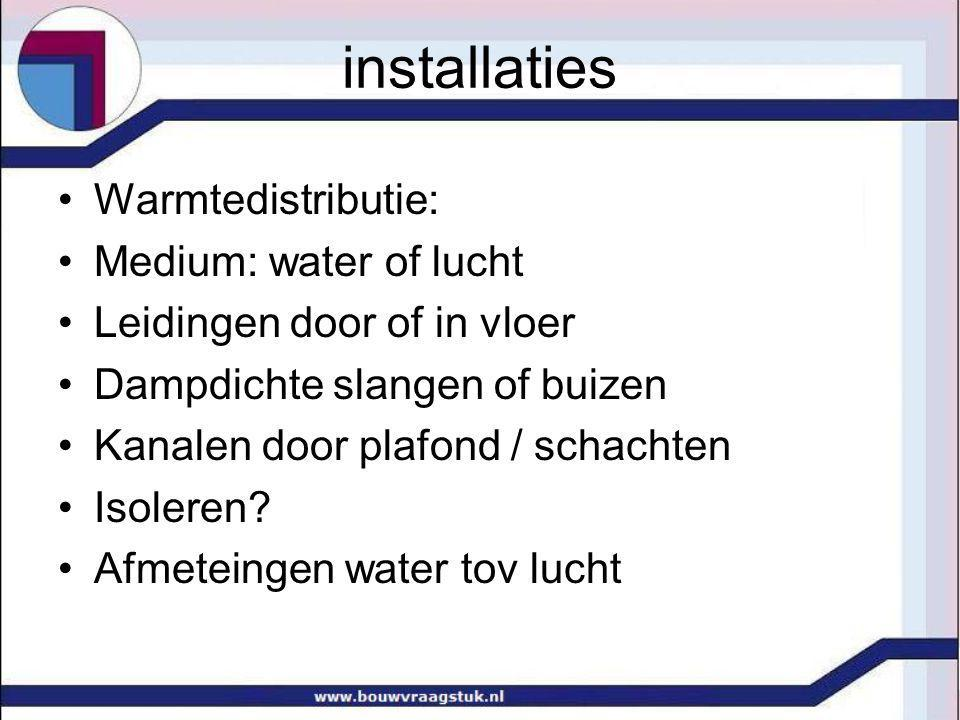 installaties Warmtedistributie: Medium: water of lucht Leidingen door of in vloer Dampdichte slangen of buizen Kanalen door plafond / schachten Isoleren.