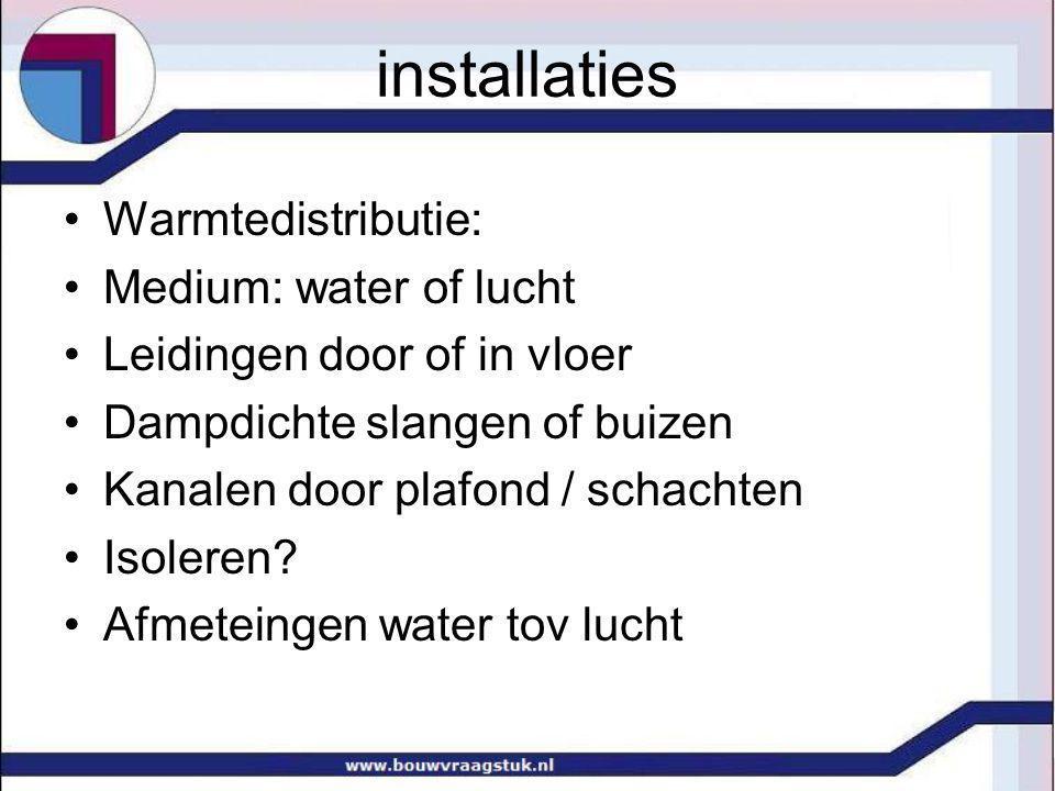 installaties Warmte afgifte Radiatoren : paneel of convectie Voor koude vlakken, inbouw vloer Vloerverwarming: legpatroon afgifte m 2 Knuffelwanden.