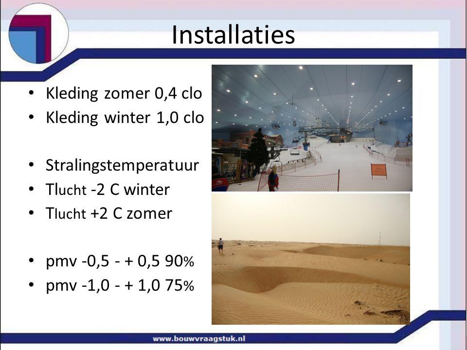 Installaties Kleding zomer 0,4 clo Kleding winter 1,0 clo Stralingstemperatuur Tl ucht -2 C winter T lucht +2 C zomer pmv -0,5 - + 0,5 90 % pmv -1,0 - + 1,0 75 %