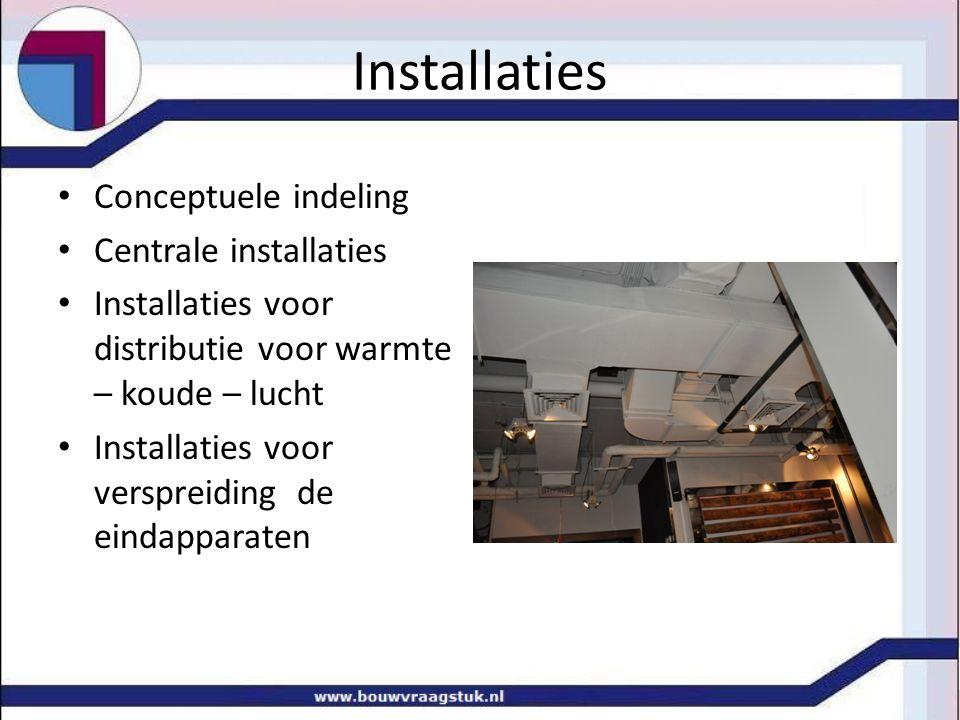 Installaties Conceptuele indeling Centrale installaties Installaties voor distributie voor warmte – koude – lucht Installaties voor verspreiding de eindapparaten