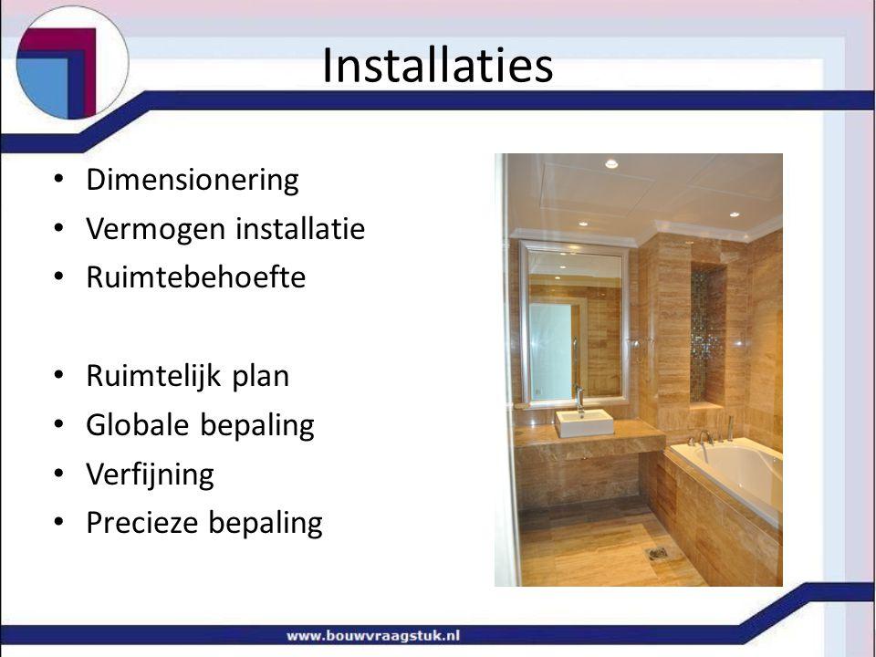 Installaties Dimensionering Vermogen installatie Ruimtebehoefte Ruimtelijk plan Globale bepaling Verfijning Precieze bepaling