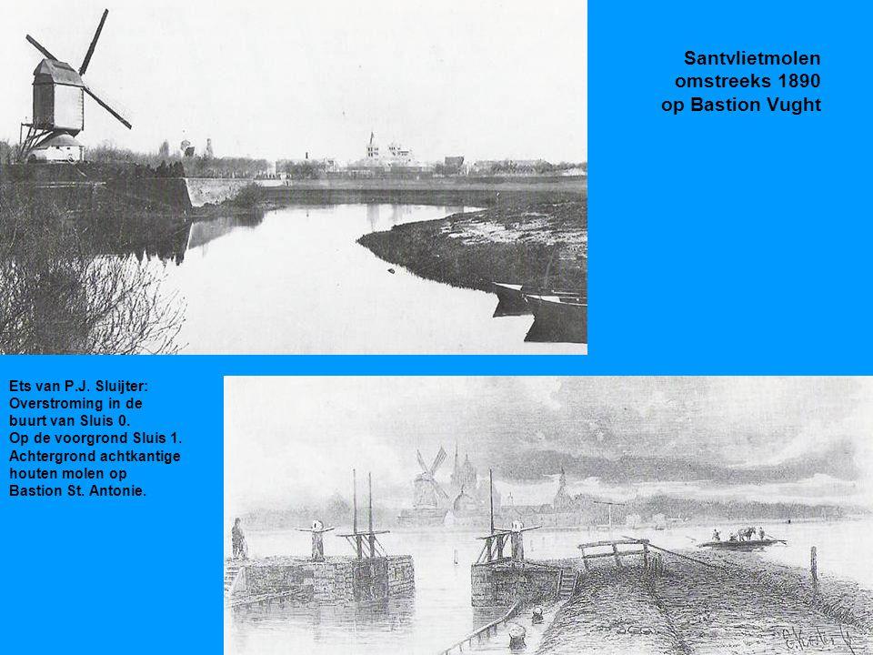 Santvlietmolen omstreeks 1890 op Bastion Vught Ets van P.J.