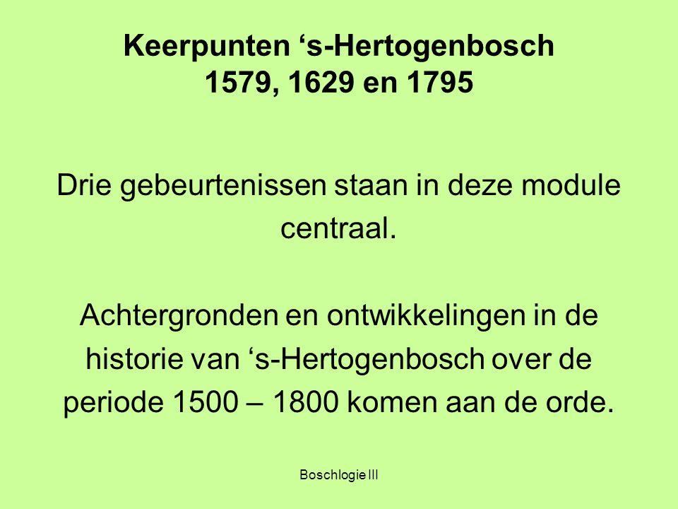 Boschlogie III Keerpunten 's-Hertogenbosch 1579, 1629 en 1795 Keerpunt 1579 's-Hertogenbosch in de Bourgondische- Habsburgse tijd 1.Staatkundige vernieuwingen 2.Hervormingsbewegingen en vervolging van de 'Ketters' 3.Verscherping van de Tegenstellingen 4.Naar een definitieve Breuk in de Nederlanden