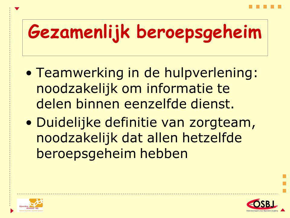 Gezamenlijk beroepsgeheim Teamwerking in de hulpverlening: noodzakelijk om informatie te delen binnen eenzelfde dienst.