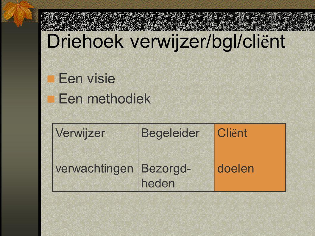 Driehoek verwijzer/bgl/cli ë nt Een visie Een methodiek Verwijzer verwachtingen Begeleider Bezorgd- heden Cli ë nt doelen