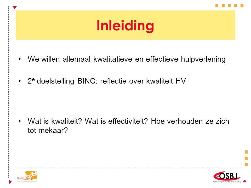 Inleiding We willen allemaal kwalitatieve en effectieve hulpverlening 2 e doelstelling BINC: reflectie over kwaliteit HV Wat is kwaliteit.