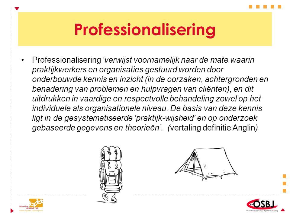 Professionalisering Professionalisering 'verwijst voornamelijk naar de mate waarin praktijkwerkers en organisaties gestuurd worden door onderbouwde kennis en inzicht (in de oorzaken, achtergronden en benadering van problemen en hulpvragen van cliënten), en dit uitdrukken in vaardige en respectvolle behandeling zowel op het individuele als organisationele niveau.