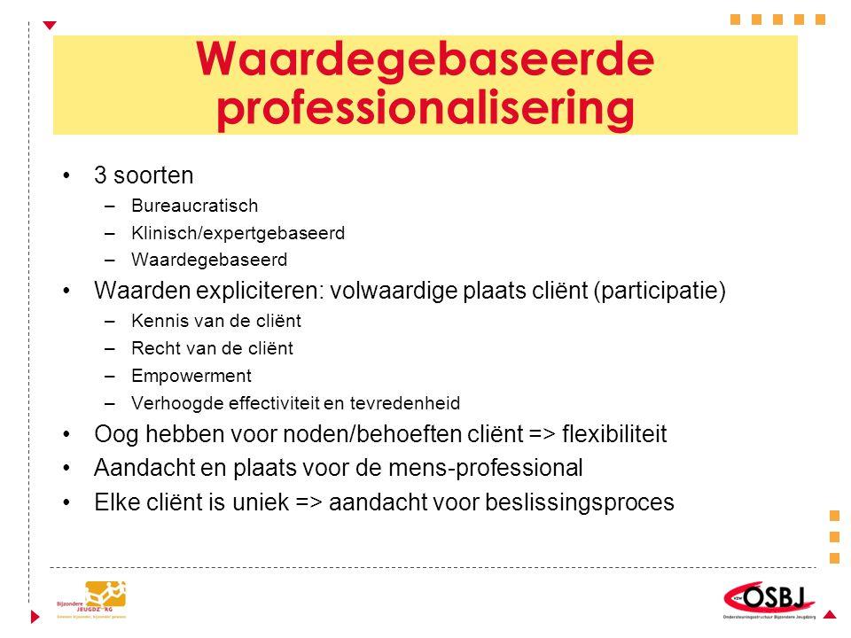 3 soorten –Bureaucratisch –Klinisch/expertgebaseerd –Waardegebaseerd Waarden expliciteren: volwaardige plaats cliënt (participatie) –Kennis van de cliënt –Recht van de cliënt –Empowerment –Verhoogde effectiviteit en tevredenheid Oog hebben voor noden/behoeften cliënt => flexibiliteit Aandacht en plaats voor de mens-professional Elke cliënt is uniek => aandacht voor beslissingsproces