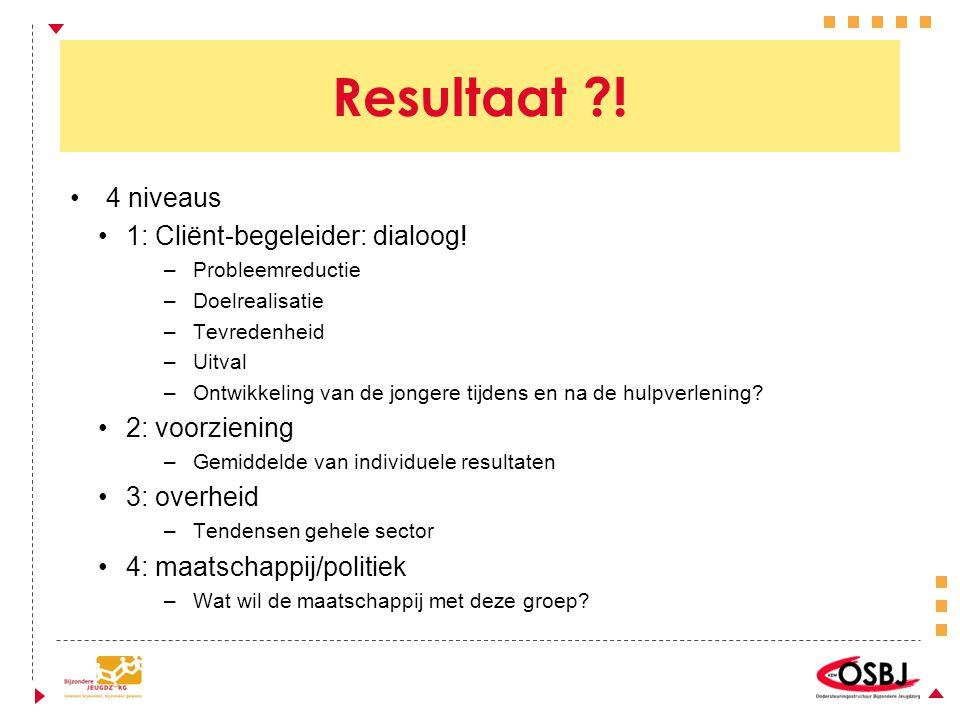 Resultaat . 4 niveaus 1: Cliënt-begeleider: dialoog.