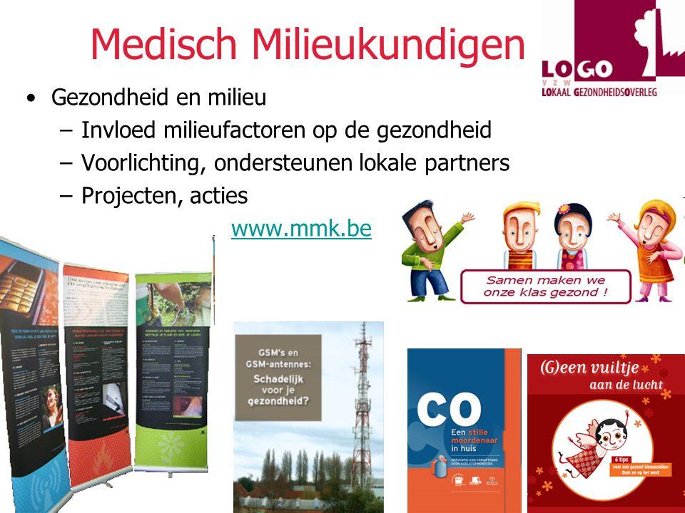 VIGeZ vzw © 2009 Medisch Milieukundigen Gezondheid en milieu –Invloed milieufactoren op de gezondheid –Voorlichting, ondersteunen lokale partners –Projecten, acties www.mmk.be