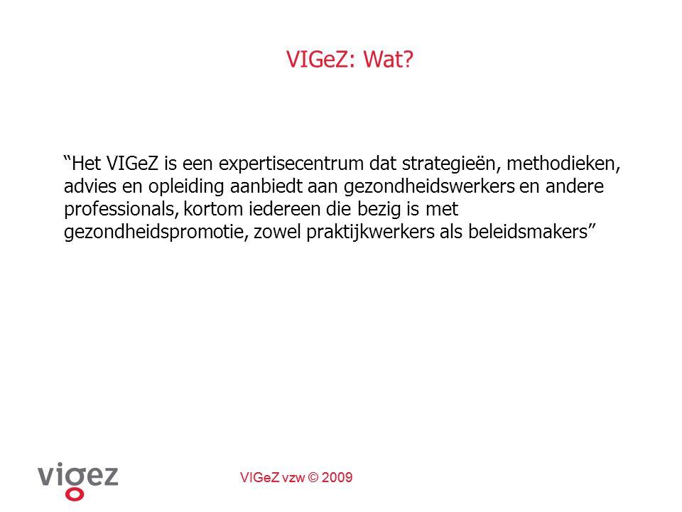 VIGeZ vzw © 2009 VIGeZ: expertisecentrum  Multidisciplinair team  Wetenschappelijk onderbouwing  Stimuleert samenwerkingsverbanden  Coördinatie & planmatige aanpak  Brug theorie - praktijk  Bijdragen tot realisatie leefstijl- gezondheidsdoelstellingen