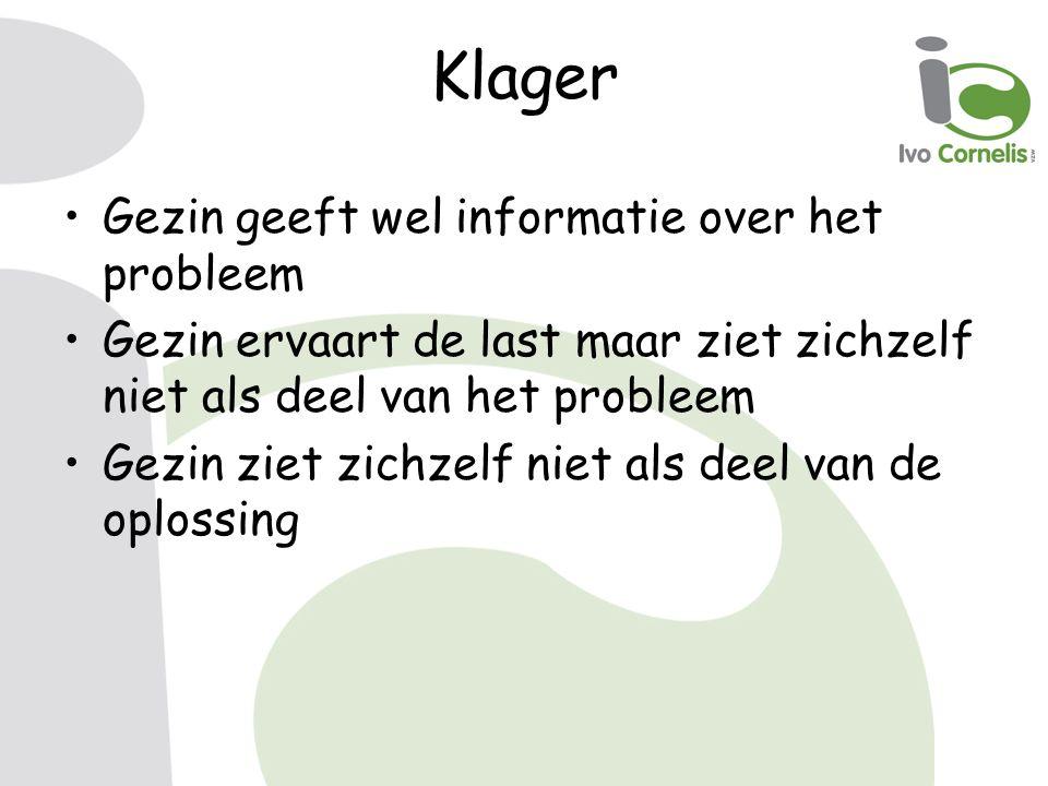 Klager Gezin geeft wel informatie over het probleem Gezin ervaart de last maar ziet zichzelf niet als deel van het probleem Gezin ziet zichzelf niet als deel van de oplossing