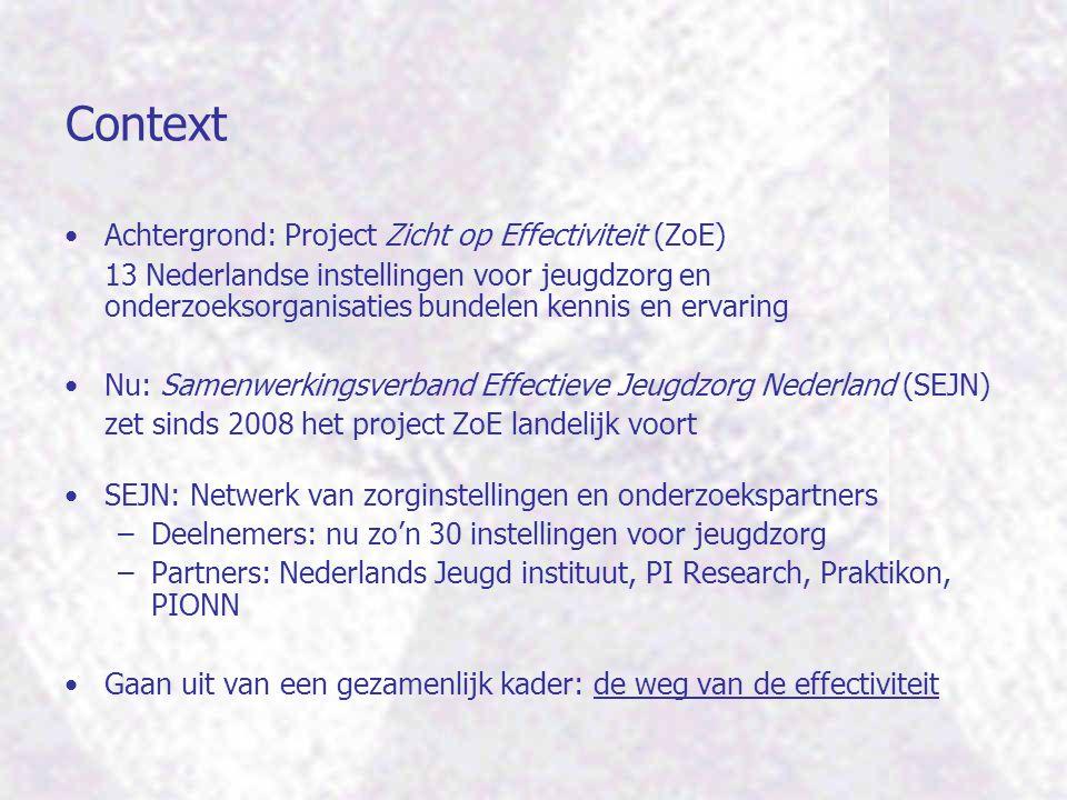 Context Achtergrond: Project Zicht op Effectiviteit (ZoE) 13 Nederlandse instellingen voor jeugdzorg en onderzoeksorganisaties bundelen kennis en erva