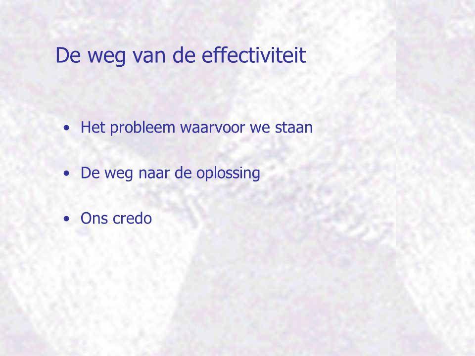 De weg van de effectiviteit Het probleem waarvoor we staan De weg naar de oplossing Ons credo
