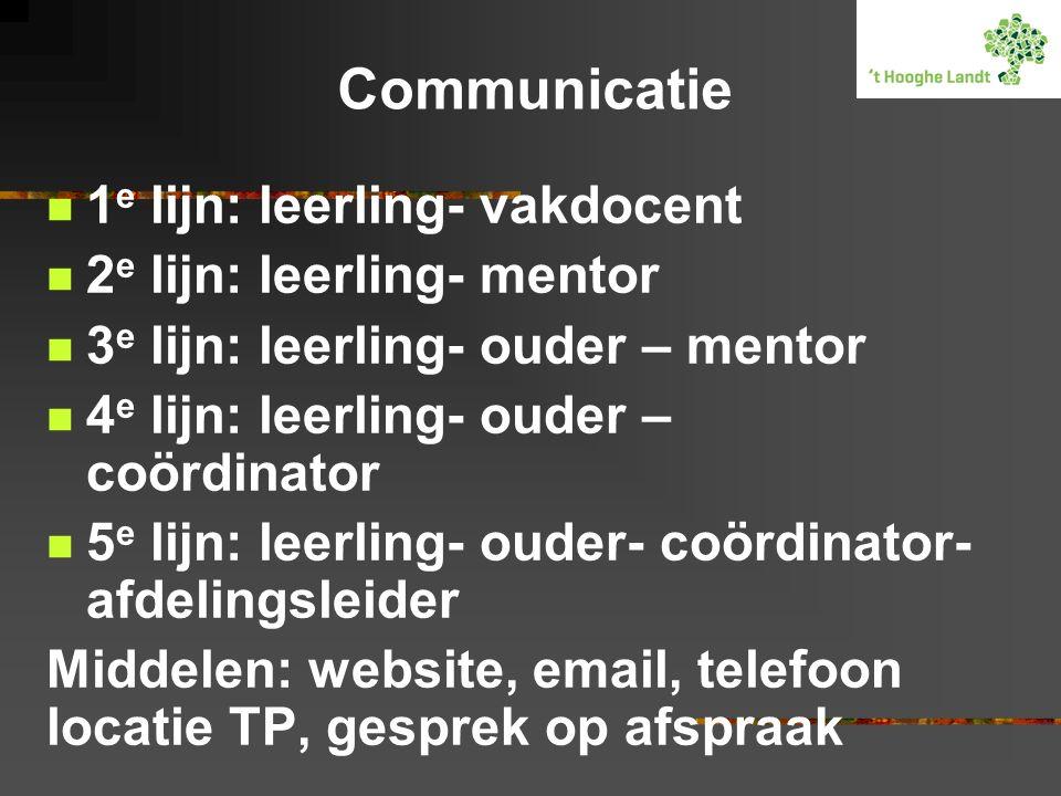 Communicatie 1 e lijn: leerling- vakdocent 2 e lijn: leerling- mentor 3 e lijn: leerling- ouder – mentor 4 e lijn: leerling- ouder – coördinator 5 e l