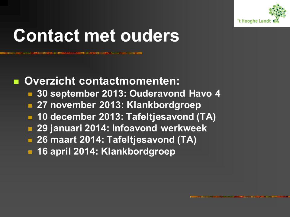 Contact met ouders Overzicht contactmomenten: 30 september 2013: Ouderavond Havo 4 27 november 2013: Klankbordgroep 10 december 2013: Tafeltjesavond (