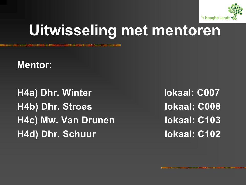 Uitwisseling met mentoren Mentor: H4a) Dhr. Winter lokaal: C007 H4b) Dhr. Stroeslokaal: C008 H4c) Mw. Van Drunenlokaal: C103 H4d) Dhr. Schuur lokaal: