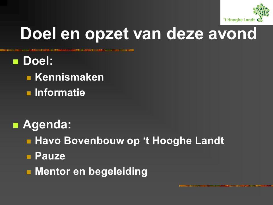 Doel en opzet van deze avond Doel: Kennismaken Informatie Agenda: Havo Bovenbouw op 't Hooghe Landt Pauze Mentor en begeleiding
