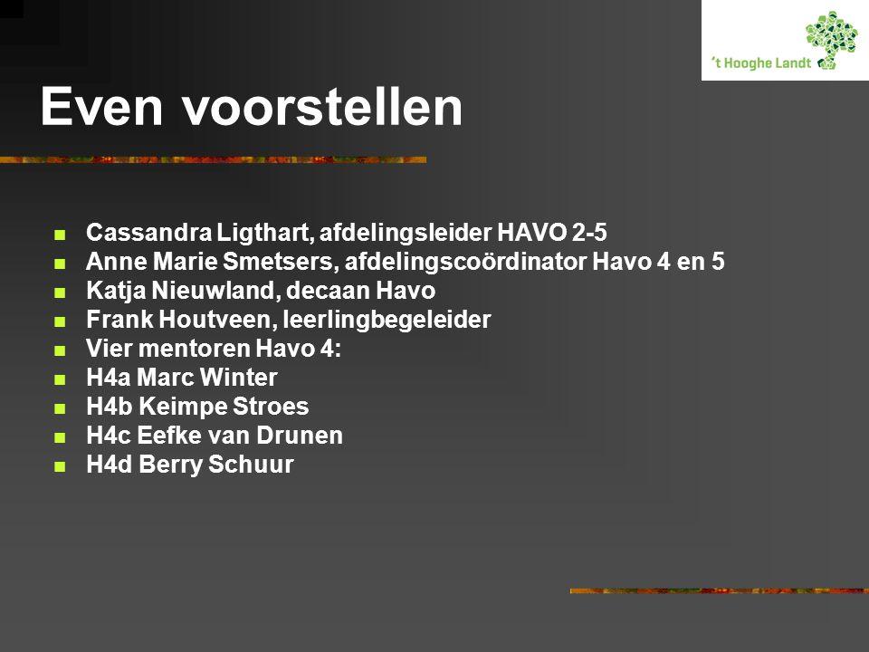Even voorstellen Cassandra Ligthart, afdelingsleider HAVO 2-5 Anne Marie Smetsers, afdelingscoördinator Havo 4 en 5 Katja Nieuwland, decaan Havo Frank