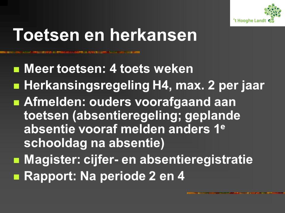 Toetsen en herkansen Meer toetsen: 4 toets weken Herkansingsregeling H4, max. 2 per jaar Afmelden: ouders voorafgaand aan toetsen (absentieregeling; g