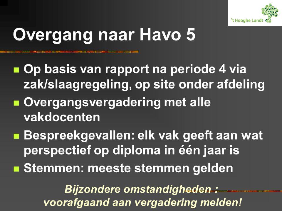 Overgang naar Havo 5 Op basis van rapport na periode 4 via zak/slaagregeling, op site onder afdeling Overgangsvergadering met alle vakdocenten Bespree