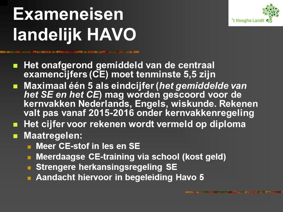 Exameneisen landelijk HAVO Het onafgerond gemiddeld van de centraal examencijfers (CE) moet tenminste 5,5 zijn Maximaal één 5 als eindcijfer (het gemi