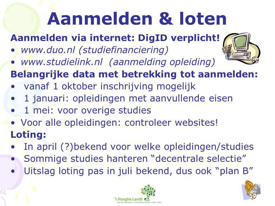 Aanmelden & loten Aanmelden via internet: DigID verplicht.