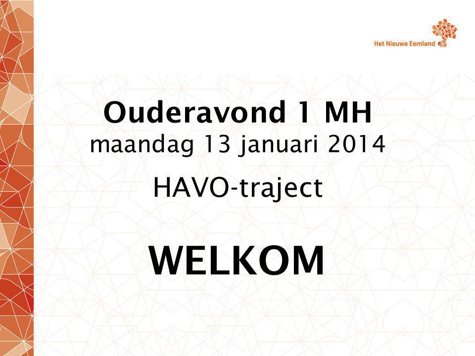 Ouderavond 1 MH maandag 13 januari 2014 HAVO-traject WELKOM