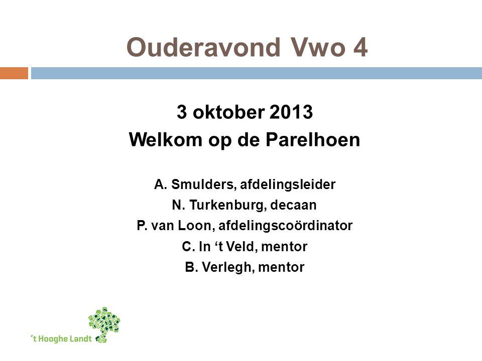 Ouderavond Vwo 4 3 oktober 2013 Welkom op de Parelhoen A. Smulders, afdelingsleider N. Turkenburg, decaan P. van Loon, afdelingscoördinator C. In 't V