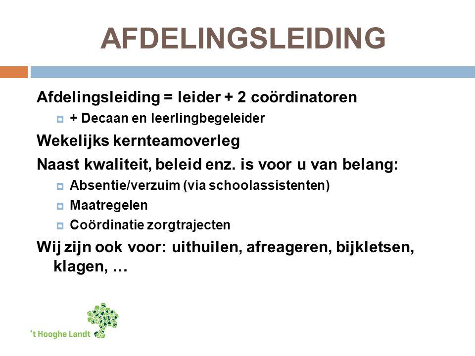 AFDELINGSLEIDING Afdelingsleiding = leider + 2 coördinatoren  + Decaan en leerlingbegeleider Wekelijks kernteamoverleg Naast kwaliteit, beleid enz.