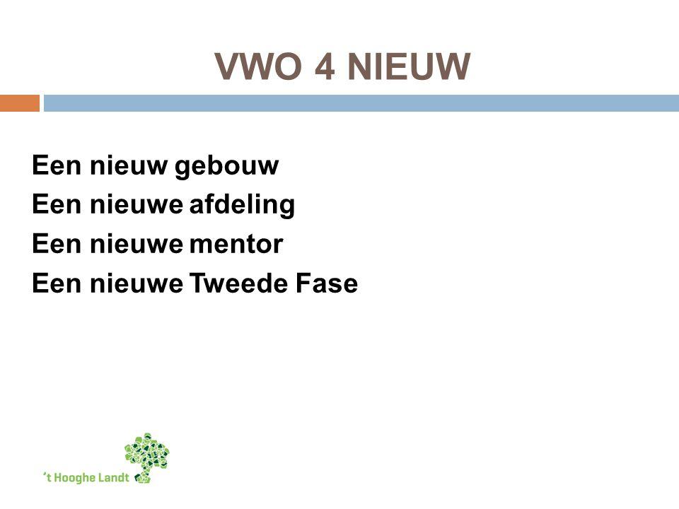 VWO 4 NIEUW Een nieuw gebouw Een nieuwe afdeling Een nieuwe mentor Een nieuwe Tweede Fase