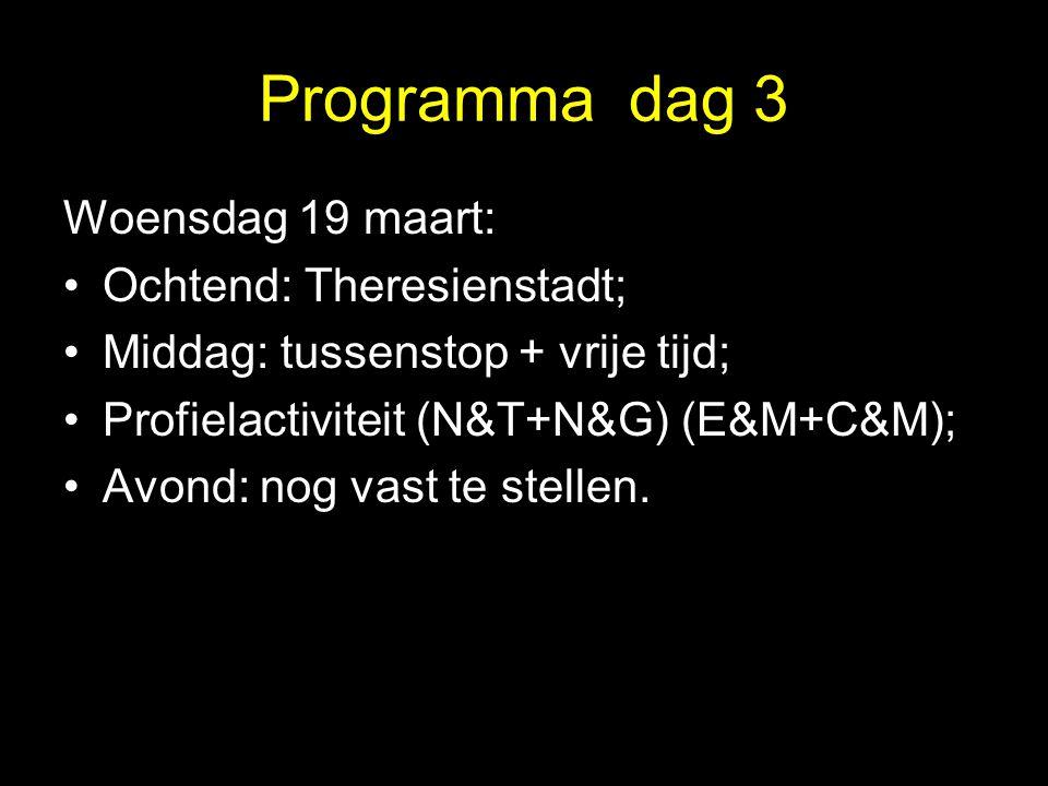 Programma dag 3 Woensdag 19 maart: Ochtend: Theresienstadt; Middag: tussenstop + vrije tijd; Profielactiviteit (N&T+N&G) (E&M+C&M); Avond: nog vast te