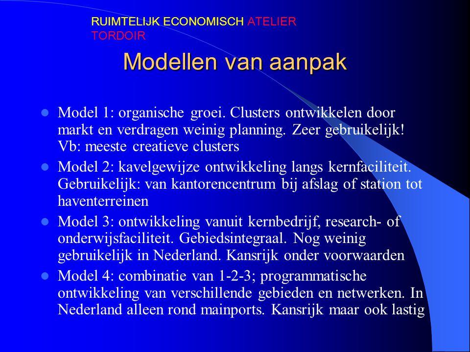 Modellen van aanpak Model 1: organische groei. Clusters ontwikkelen door markt en verdragen weinig planning. Zeer gebruikelijk! Vb: meeste creatieve c