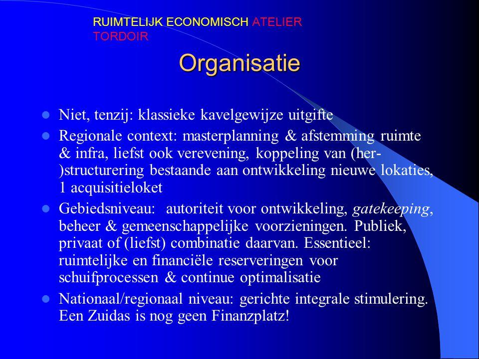 Organisatie Niet, tenzij: klassieke kavelgewijze uitgifte Regionale context: masterplanning & afstemming ruimte & infra, liefst ook verevening, koppel