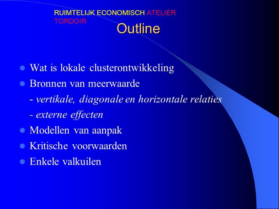 Outline Wat is lokale clusterontwikkeling Bronnen van meerwaarde - vertikale, diagonale en horizontale relaties - externe effecten Modellen van aanpak
