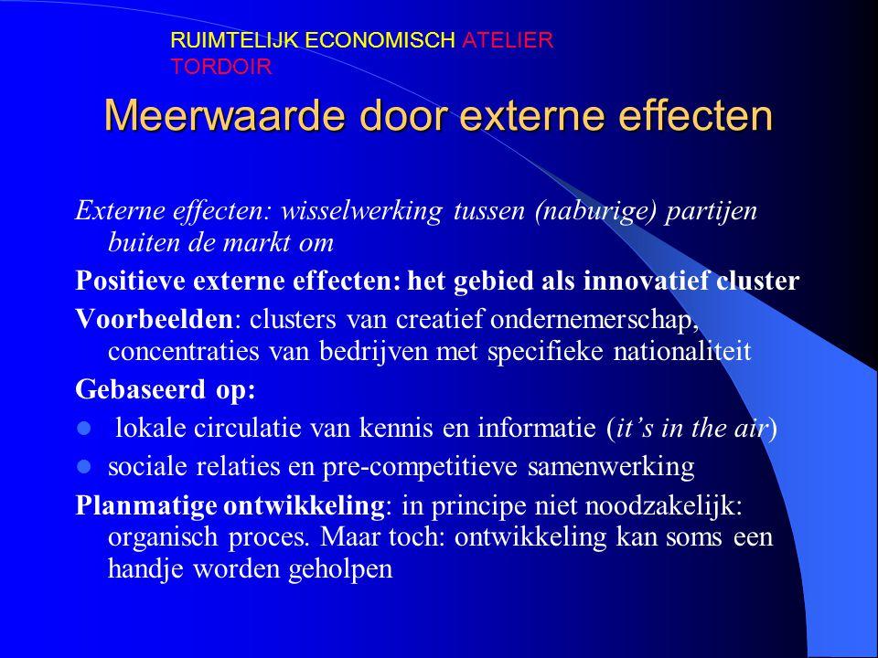 Meerwaarde door externe effecten Externe effecten: wisselwerking tussen (naburige) partijen buiten de markt om Positieve externe effecten: het gebied