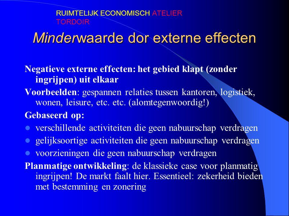Minderwaarde dor externe effecten Negatieve externe effecten: het gebied klapt (zonder ingrijpen) uit elkaar Voorbeelden: gespannen relaties tussen ka
