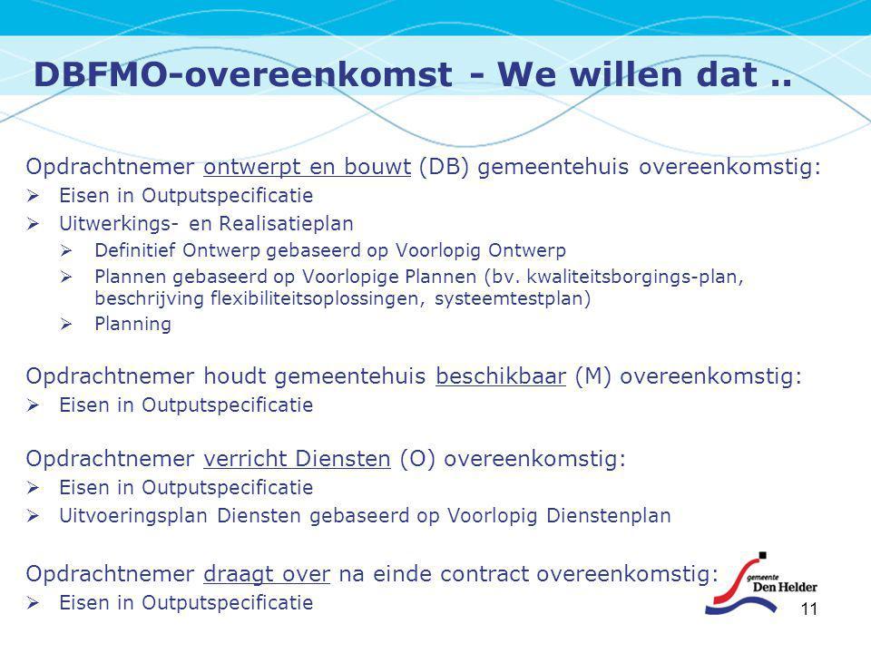 DBFMO-overeenkomst - We willen dat.. 11 Opdrachtnemer ontwerpt en bouwt (DB) gemeentehuis overeenkomstig:  Eisen in Outputspecificatie  Uitwerkings-